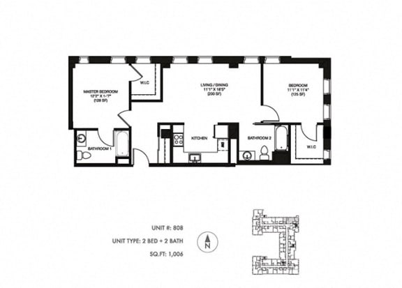 2 Bed 2 Bath 1006 sqft Floor Plan at Somerset Place Apartments, Chicago