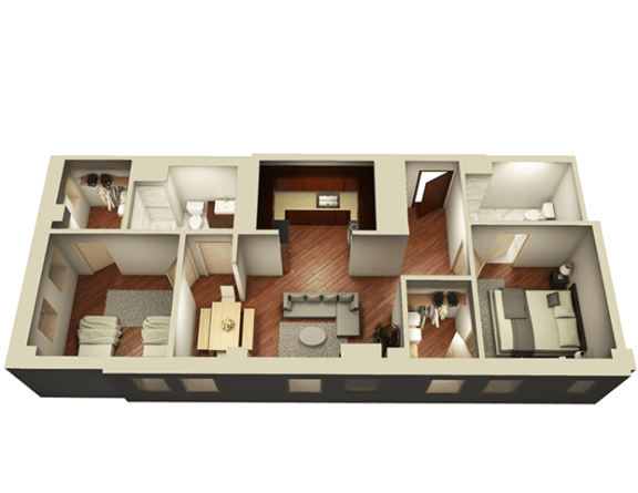 2 Bed 2 Bath 1006 sqft 3D Floor Plan at Somerset Place Apartments, Chicago, Illinois