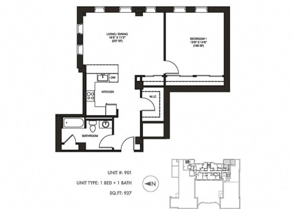 The Penthouse 927 sqft Floor Plan at Somerset Place Apartments, Chicago, IL, 60640