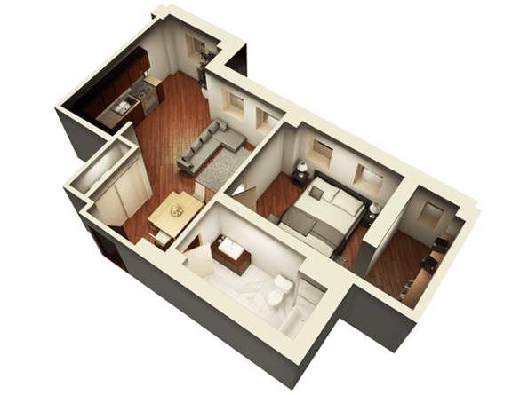 The Penthouse 738 sqft 3D Floor Plan at Somerset Place Apartments, Illinois