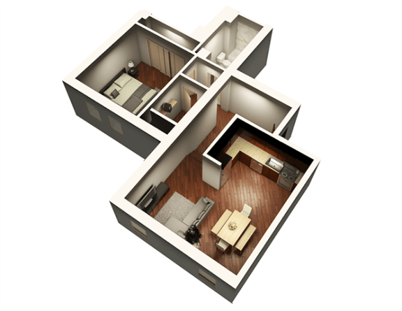 The Penthouse 894 sqft 3D Floor Plan at Somerset Place Apartments, Chicago, 60640