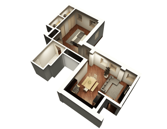 The Penthouse 771 sqft 3D Floor Plan at Somerset Place Apartments, Chicago, IL, 60640