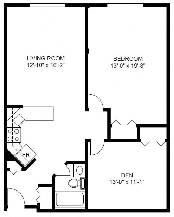 Floor Plan  1 Bedroom with Den (D4)