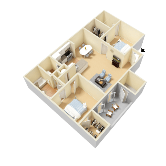 Windemere Floor Plan at Clarion Crossing Apartments in West Raleigh NC