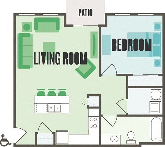 The Monroe One Bed  One Bath Floor Plan at Monmouth Row Apartments, Newport, 41071