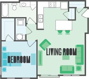 The Maple 1 Bed  1 Bath Floor Plan at Monmouth Row Apartments, Newport, Kentucky