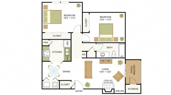Plan B2 Two Bed One Bath 840 Sq.ft. FloorPlan at Peppermill Apartments, CLEAR Property Management, Universal City