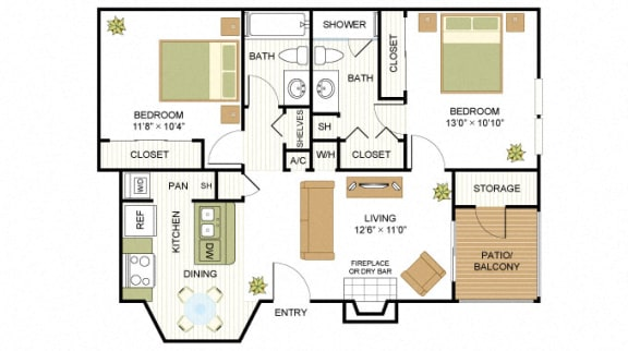 Plan C1 Two Bed Two Bath 875 Sq.ft. FloorPlan at Peppermill, Texas