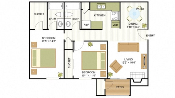 B1 2 Bedroom 2 Bath Floorplan at Sunset Canyon, Texas, 78232