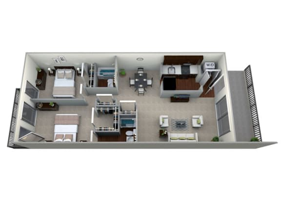 Floor Plan  3D floorplan for 2 bed 2 bath 978sf, at Brook View Apartments, Maryland, 21209