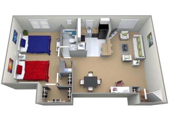 Floor Plan  Floorplan for 1 bed 1 bath 995sf, at Cardiff Hall Apartments, 8001 York Road, Towson