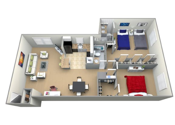 Floor Plan  Floorplan for 2 bed 2 bath 1300sf, at Cardiff Hall Apartments, Towson, Maryland