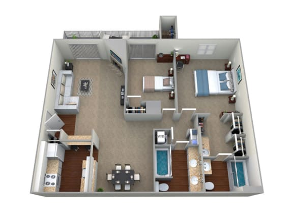 Floor Plan  3D Floorplan for 2 bed 2 bath 1020sf, at McDonogh Township Apartments, Owings Mills, Maryland