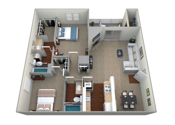 Floor Plan  3D Floorplan for 2 bed 2 abth 1046sf, at McDonogh Township Apartments, Maryland, 21117