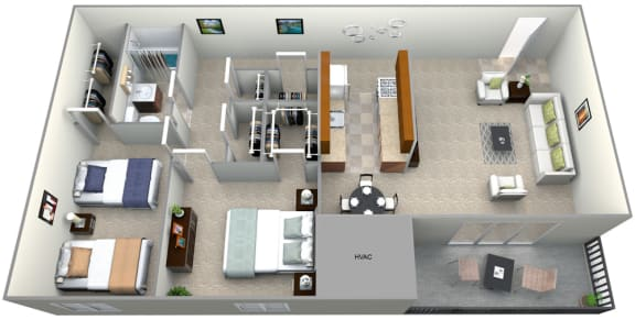 Floor Plan  3D Floorplan for 2 bed 1 bath deluxe, at 101 North Ripley Apartments, Alexandria, 22304, opens a dialog