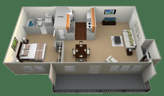 Floor Plan  1 Bedroom 1 Bathroom II floorplan