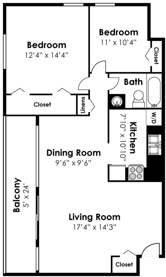 Floor Plan  2 Bedroom 1 Bath Renovated