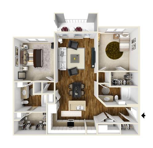 Two Bedroom, Two Bathroom Floor Plan