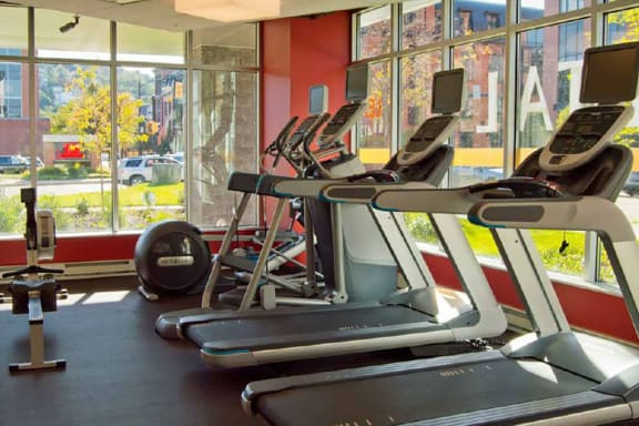 Fitness Center with Cardio Machines, Hot Metal Flats apartments, Pittsburgh, PA