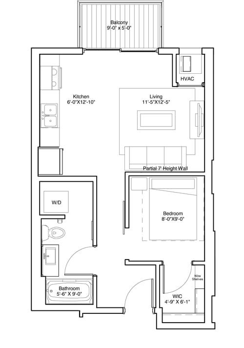 Floor Plan  Studio Apartment Floor Plan Vintage on Selby Apartments