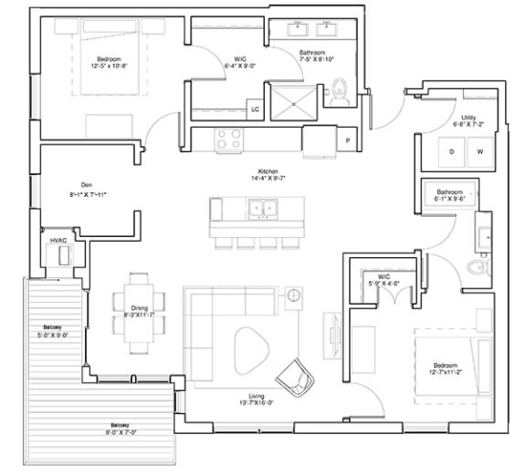 Floor Plan  2 Bedroom & Den Apartment Floor Plan Vintage on Selby Apartments