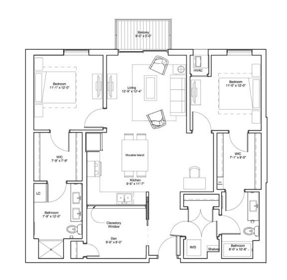 Vintage on Selby Apartments 2 Bedroom & Den Apartment Floor Plan