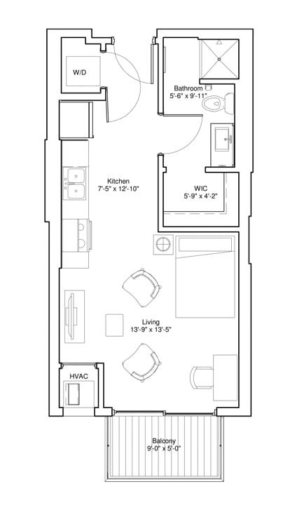 Floor Plan  Vintage on Selby Apartments Studio Apartment Floor Plan