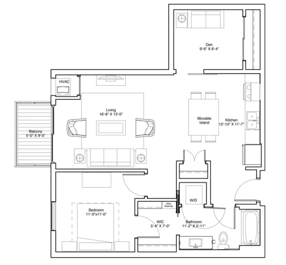 1 Bedroom & Den Apartment Floor Plan Vintage on Selby Apartments