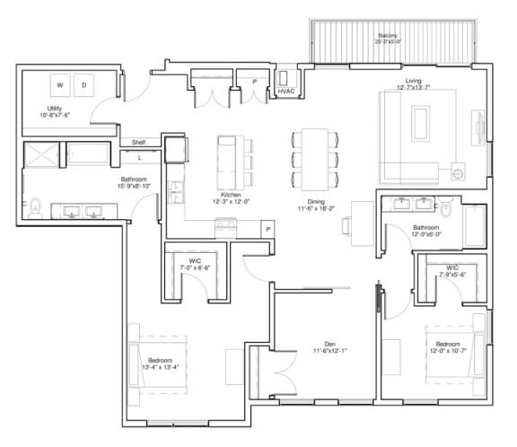 3 Bedroom Apartment Floor Plan Vintage on Selby Apartments
