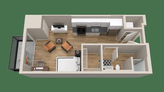 Vintage on Selby Apartments Studio Apartment Floor Plan