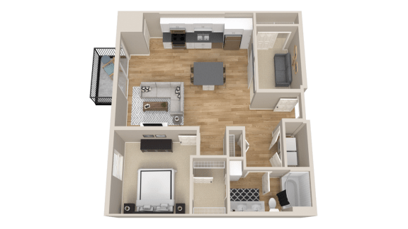 Vintage on Selby Apartments 1 Bedroom & Den Apartment Floor Plan