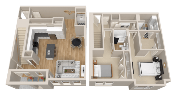 Vintage on Selby Apartments 2 Bedroom Townhome Floor Plan