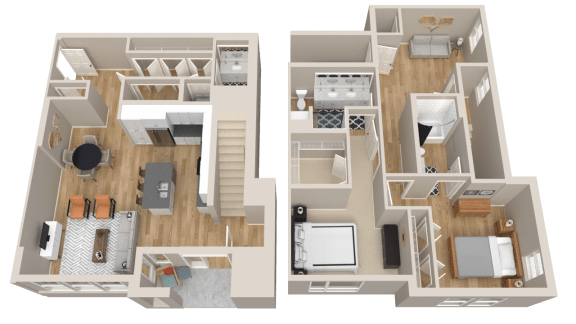2 Bedroom Townhome Floor Plan Vintage on Selby Apartments