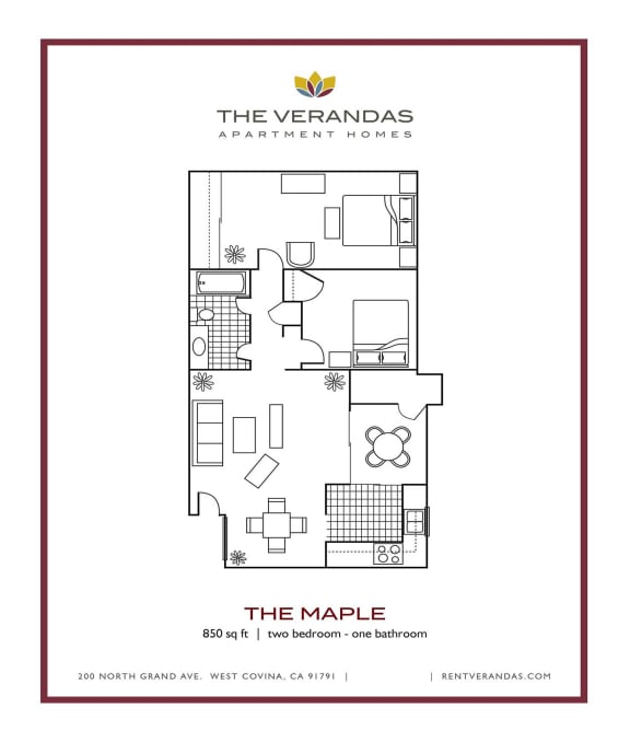 2 Bed 1 Bath Floor plan at The Verandas Apartment Homes, CA, 91791