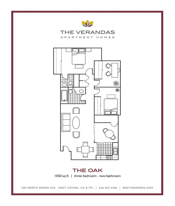 Floor Plan  3 Bed 2 Bath Floor plan at The Verandas Apartment Homes, West Covina, 91791