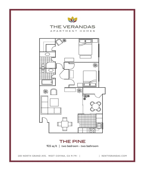 2 Bed 2 Bath Floor plan at The Verandas Apartment Homes, 200 N. Grand Avenue, West Covina, CA