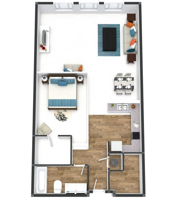 One Bedroom Vista Floor Plan at The Lofts at Shillito Place, Cincinnati, Ohio