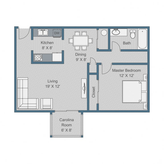 Deluxe Floor Plan at Sterling Bluff Apartments