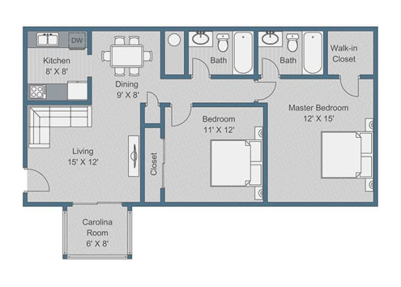2x2 Standard Floor Plan at Sterling Bluff Apartments