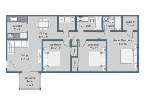 3x2 Standard Floor Plan at Sterling Bluff Apartments