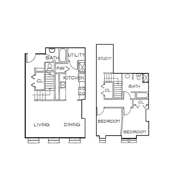 Floor Plan  2 BR/2 BA with Den