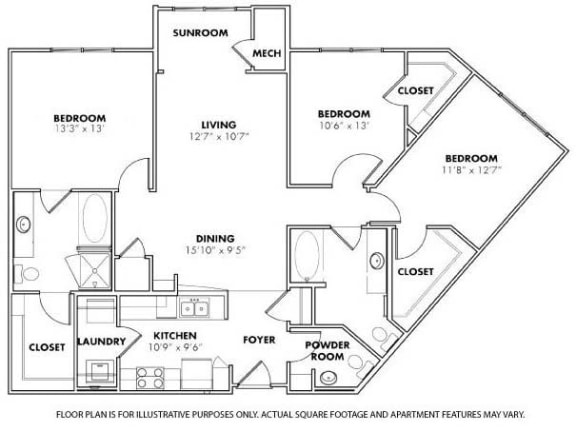 Floor Plan  Floorplan at Windsor at Glenridge, 305 5610 Glenridge Drive,Sandy Springs, GA, opens a dialog