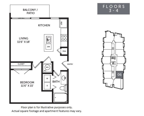 Floor Plan  New Monarch A5R floor plan at The Monarch by Windsor, 801 West Fifth Street, 78703
