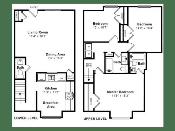Floor Plan  Beacon 2 Floor Plan at Windsor Village at Waltham, 976 Lexington Street, Waltham, MA 02452