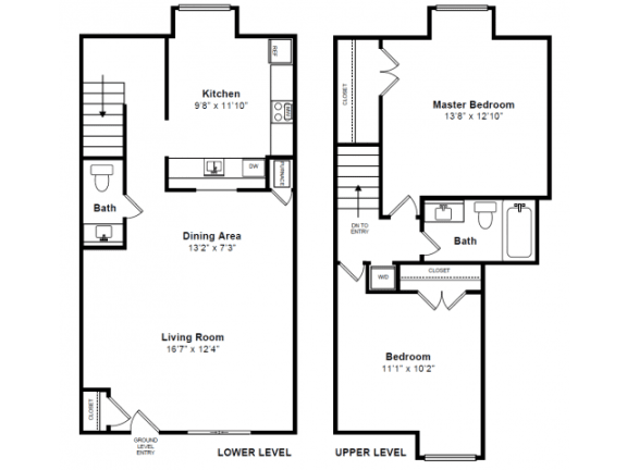 Floor Plan  Exeter 2 Floor plan at Windsor Village at Waltham, 976 Lexington Street, Waltham, MA 02452