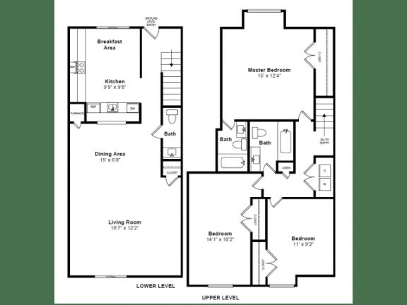 Floor Plan  Newbury 2 Floor Plan at Windsor Village at Waltham, 976 Lexington Street, Waltham, MA 02452