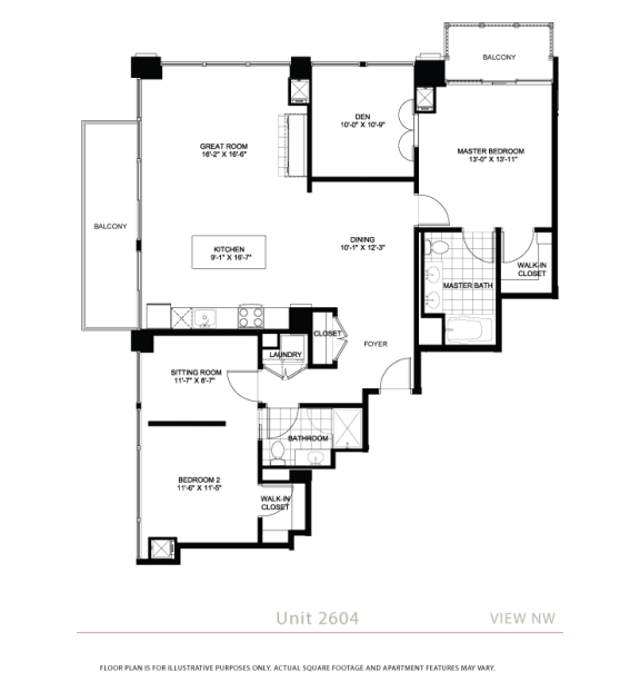 Floor Plan  Penthouses available at Flair Tower Chicago, IL 60654