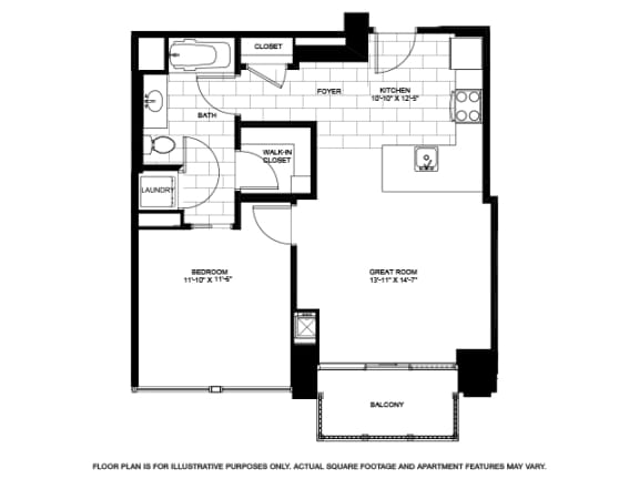 Floor Plan  One Bedroom -05 A - B Floorplan at Flair Tower