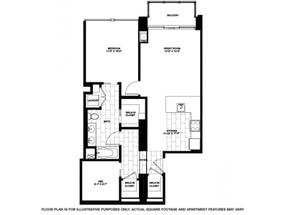 Floor Plan  One Bedroom with Den -01 Floorplan at Flair Tower