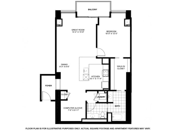 Floor Plan  One Bedroom Penthouse Floorplan at Flair Tower